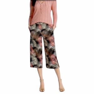 hP] WHBM TROPICAL CROP WIDE LEG PANTS